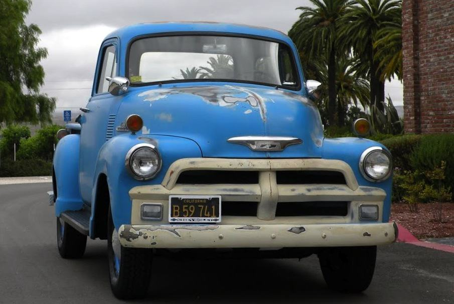 Front right 1955 Chevy Truck Blue For Sale